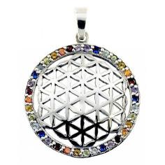 Anhänger Blume des Lebens Silber mit 32 farbigen Zirkonen
