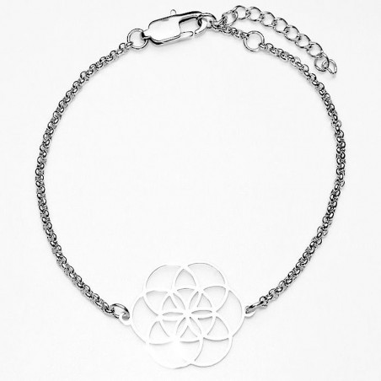 Armreif Blume des Lebens Edelstahl 7 Chakra Kristallen Modeschmuck Esoterik