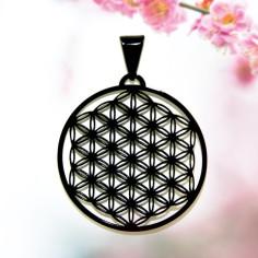 Edelstahl-Anhänger schwarz 25mm Blume des Lebens