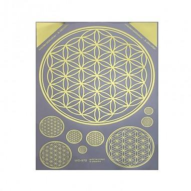 A3 gold Aufkleber Blume des Lebens wiederablösbar