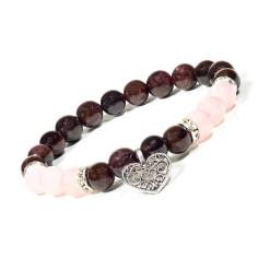 Armband Granat/Rosenquarz mit Herz