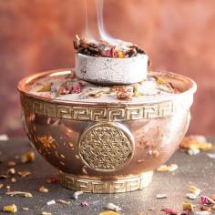 Räucherschale Blume des Lebens Kupfer mit Messingverzierung