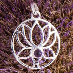 Lotus Anhänger mit Amethyst