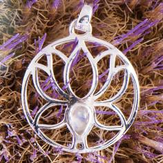 Lotus Anhänger mit Mondstein