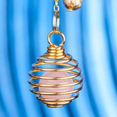 Spiralpendel mit Rosenquarzkugel