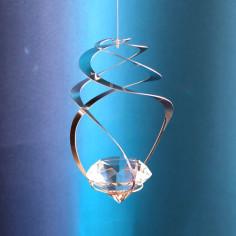 Windspiel Spirale Wirbel mit Glas-Diamanten