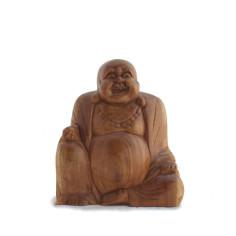 Happy Buddha 16cm Holz im Lotossitz