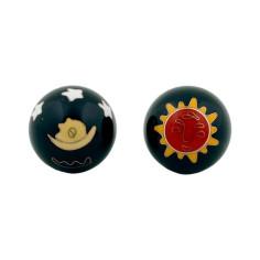 Qi Gong Kugeln 35mm  Sonne & Mond schwarz